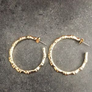 Gold Tone Bamboo Hoops